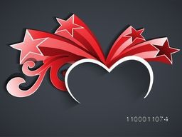 Happy Valentines Day background, greeting card or gift card with heart and stars.
