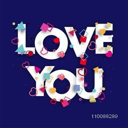 White Text Love You with colorful geometric elements and hearts decoration. Elegant Greeting Card for Happy Valentine's Day celebration.