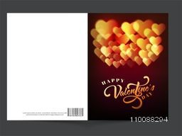 Greeting card design decorated with glossy glowing Hearts for Happy Valentine's Day Celebration.