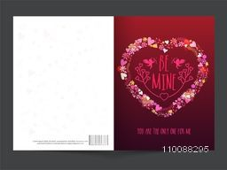 Glossy greeting card with stylish Text Be Mine on creative Heart for Happy Valentine's Day Celebration.