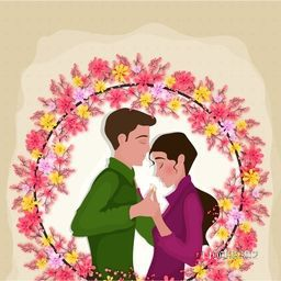 Young Couple in Love on flowers decorated background for Happy Valentine's Day celebration.
