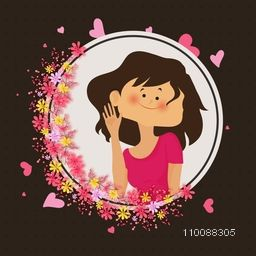 Cute smiling Girl on beautiful flowers decorated frame for Happy Valentine's Day celebration.