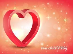 3D glossy Heart on shiny background for Happy Valentine's Day celebration.