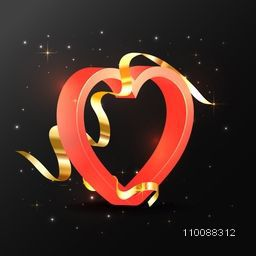 3D Red glossy Heart with Golden Ribbon on shiny background for Happy Valentine's Day Celebration.
