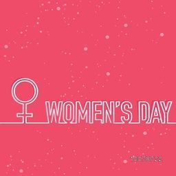 Elegant greeting card design with female symbol and stylish text Women's Day on pink background.
