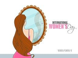 Young slim girl with long hair looking at mirror for International Women's Day celebration.