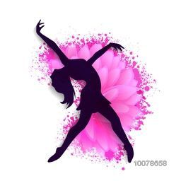 Silhouette of a young dancing girl on creative background for Happy International Women's Day celebration.