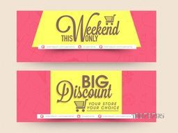 Website header or banner set of Weekend Sale with Big Discount Offer for Happy Women's Day celebration.