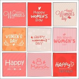 Set of greeting cards with creative typographic collection for Happy Women's Day celebration.
