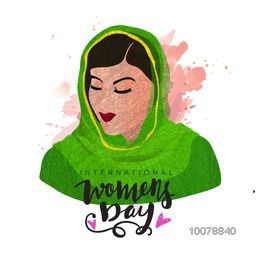 Illustration of young beautiful woman in traditional dress for International Women's Day celebration.