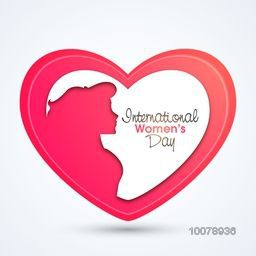 Creative pink illustration of a young girl in heart shape for International Women's Day celebration.