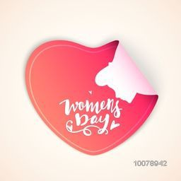 Creative sticky design in glossy heart shape for Happy Women's Day celebration.