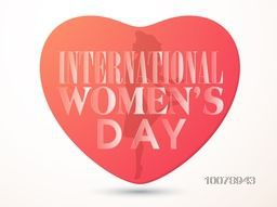 Stylish text International Women's Day with illustration of a young girl in heart shape.