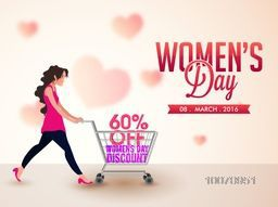Creative Sale Poster, Banner or Flyer design with illustration of a young girl holding shopping cart on hearts decorated background for Happy Women's Day celebration.