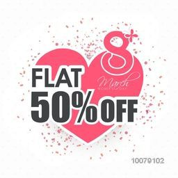 Pink heart decorated Poster, Banner or Flyer design of Sale with 50% Flat Discount Offer for Happy Women's Day celebration.