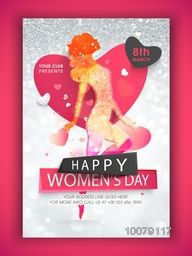 Creative Template, Banner or Flyer design with illustration of a young girl on silver glitter background for Happy Women's Day celebration.