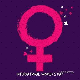 Creative pink Female symbol on purple background for International Women's Day celebration.