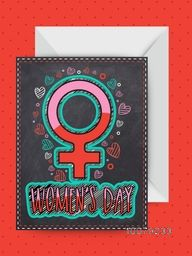 Creative Female Symbol decorated greeting card design with envelope for Happy Women's Day celebration.
