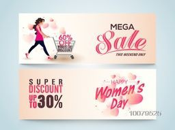 Creative website header or banner set of Mega Sale with Super Discount Offer for Limited Time on occasion of Happy Women's Day celebration.