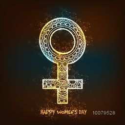 Creative shiny floral design decorated Female Symbol for Happy Women's Day celebration.