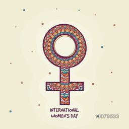 Creative colorful floral design decorated Female Symbol for International Women's Day celebration.