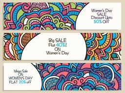 Beautiful floral design decorated website header or banner set of Big Sale with Flat Discount Offer for International Women's Day celebration.