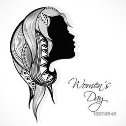 Happy Women's Day celebration concept with silhouette of young girl face with floral decorated hairs on grey background.