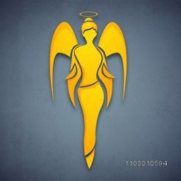 Happy Women's Day greeting card or background with a angel or fairy in yellow color on grey background. EPS 10.