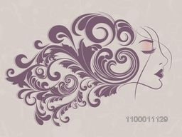 Happy Women's Day greeting card or background with a sketch of a women with floral decorative hairs.
