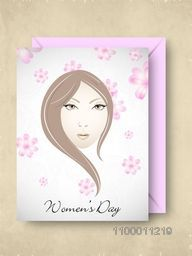 Happy Women's Day greeting card or gift card with pink envelop design with a girl face.