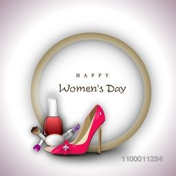 Happy Women's Day background with ladies shoe and cosmetics.