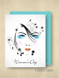 Happy Women's Day greeting or gift card with design of a girl face.