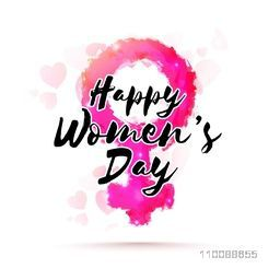 Creative Pink Female Symbol and Stylish Text Happy Women's Day on hearts decorated background.