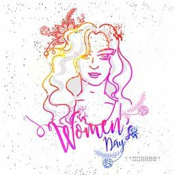 Creative abstract illustration of a Young Girl for Happy International Women's Day Celebration.
