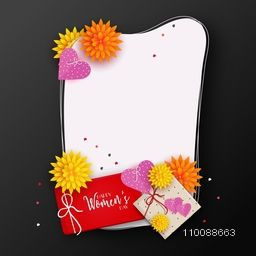 Colorful flowers and wrapped gift boxes decorated greeting card design with space to add text for Happy Women's Day celebration.