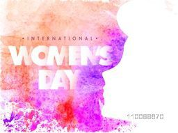 Happy International Women's Day celebration background with illustration of young girl face, abstract colorful splash and floral design.