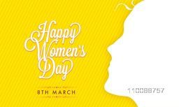 Greeting Card design with white illustration of Girl Face for 8th March, Happy International Women's Day Celebration.