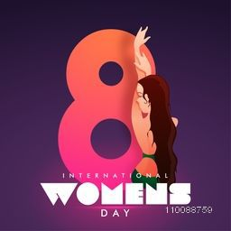 Glossy Big Text 8 with illustration of a young girl for Happy International Women's Day Celebration.