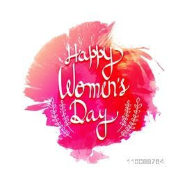 Creative Happy Women's Day lettering design with abstract watercolor effects.