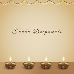 Beautiful Diwali text with illuminated oil lamps with sign of swastika and flounce of colorful lights.