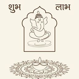 Illustration of  of lord Ganesha in frame with rangoli, lampion and text Subh Lambh in black and white.