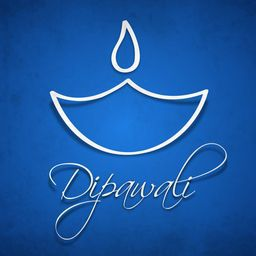 White outline of a lampion with stylish Dipawali text on blue grungy background.