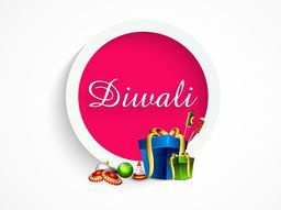 Beautiful Diwali text in rounded frame with colorful gifts and crackers.