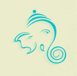 Beautiful sketch of Lord Ganesha face with one eye in blue colour on floral decorated background.