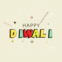 Illustration of colourful Diwali text with sketches of stars and rocket on dotted background.