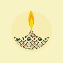 Illustration of a flower decorated illuminated  lampion in the shade of circle.
