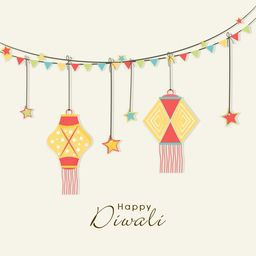 Illustration of hanging lamps and stars binding with  rope and a line of small colourful flags