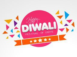 In this poster text of happy diwali in a circle with a ribbon cross of circle and many paper design decorated on gray and white background.