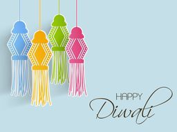 Illustration of beautiful decorated hangings and text of happy diwali on light skyblue background.