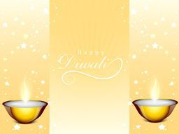 Illustration of illuminated oil lit lamp with text of happy diwali in center on stars decorated background.